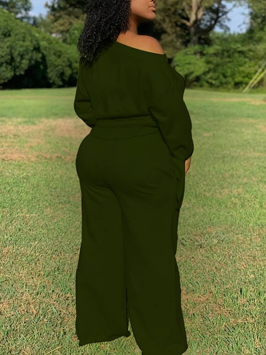 LW BASIC Plus Size Casual Drawstring Loose Green Two-piece Pants Set