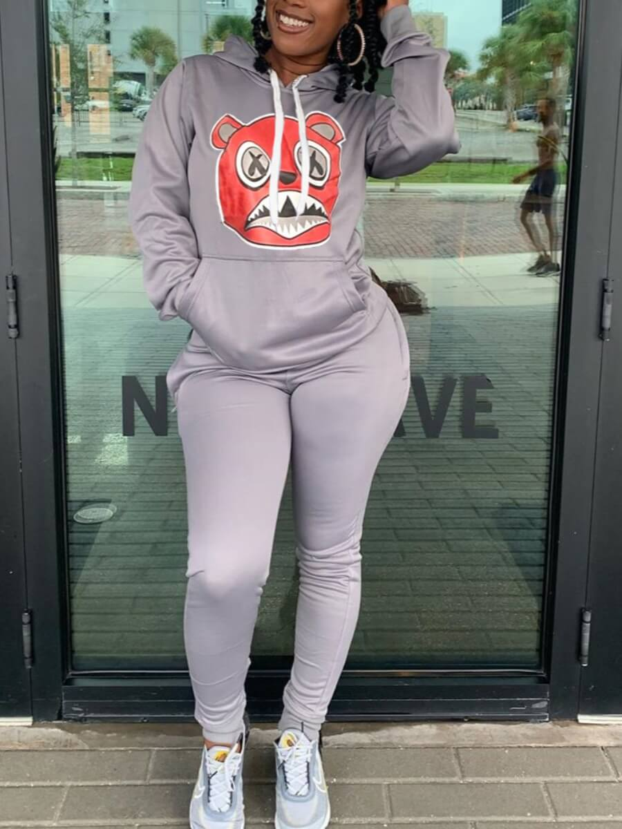 Lovely Casual Hooded Collar Cartoon Print Grey Two Piece Pants Set