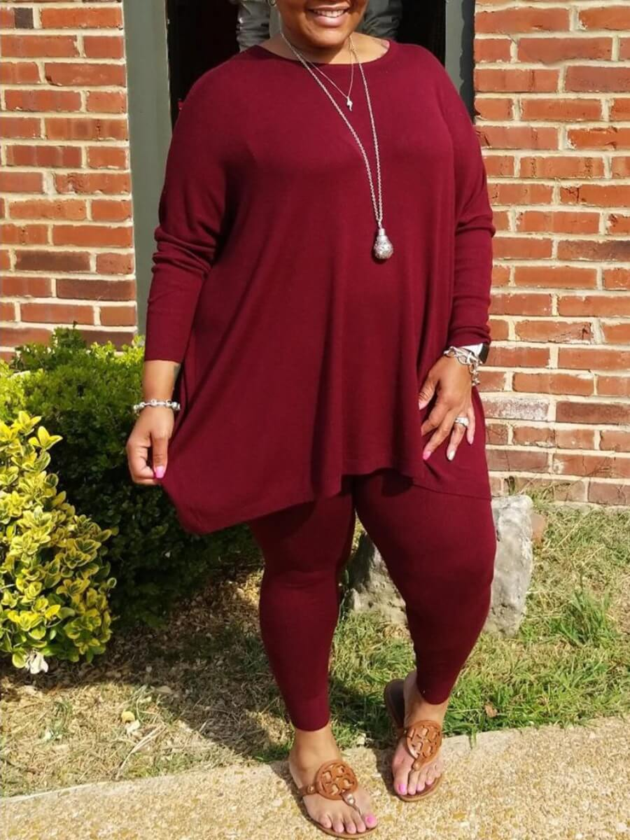 Lovely Casual O Neck Asymmetrical Wine Red Plus Si