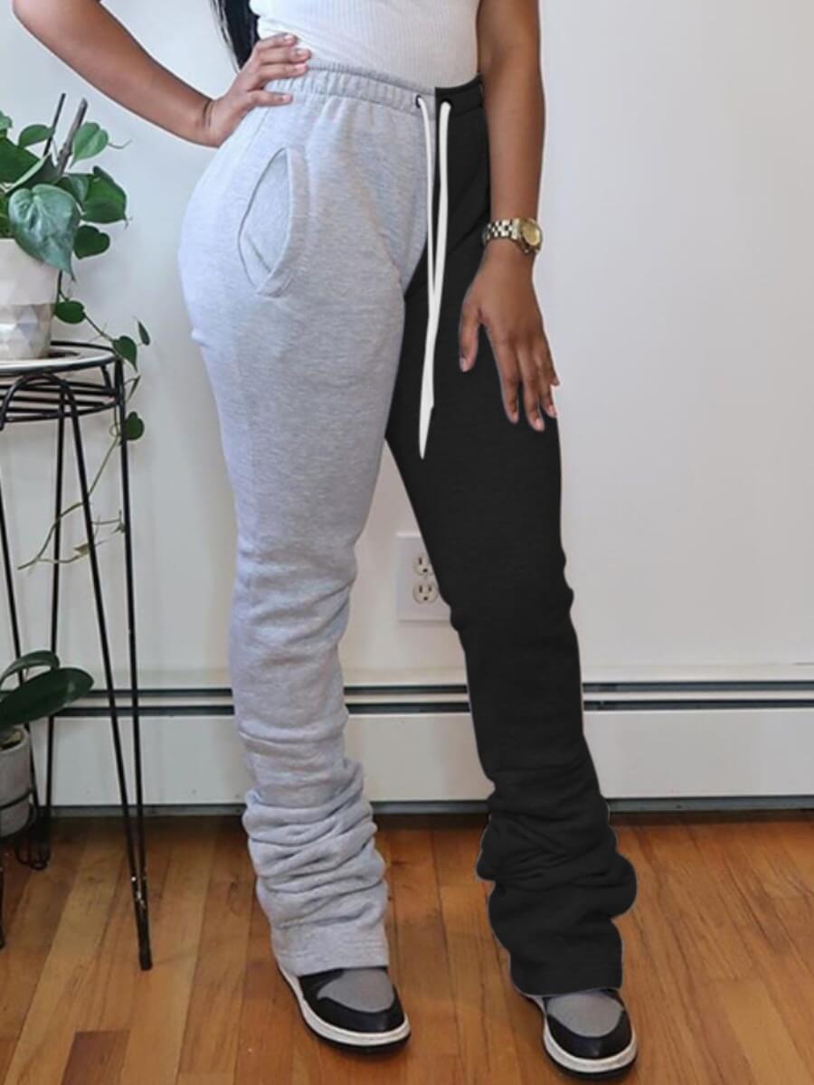 Lovely Street Patchwork Fold Design Grey Pants