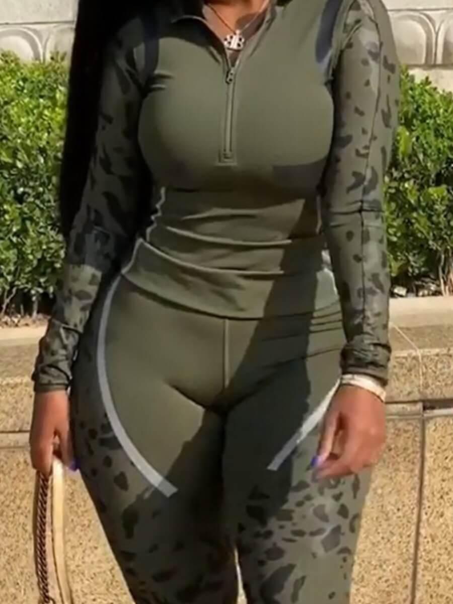 Lovely Sportswear Print Zipper Design Army Green P