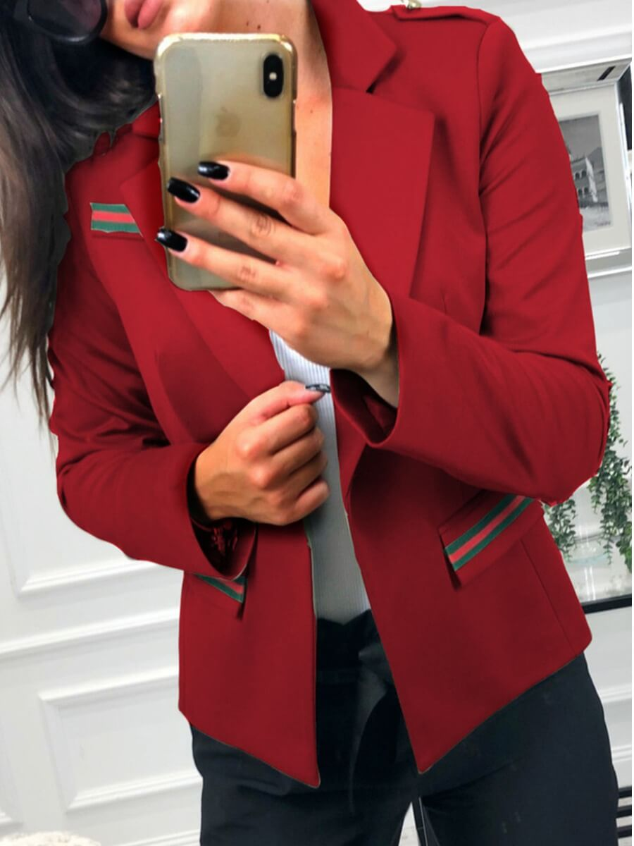 Lovely Stylish Turndown Collar Patchwork Red Blaze