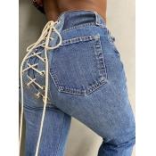 Lovely Street Bandage Design Deep Blue Jeans