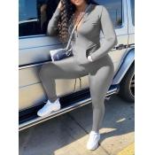 Lovely Casual Turndown Collar Zipper Design Grey Two Piece Pants Set