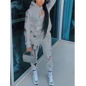 Lovely Sportswear Hooded Collar Print Grey Two Piece Pants Set