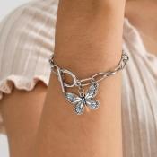 lovely Trendy Butterfly Silver Bracelet