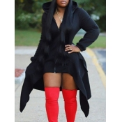 lovely Casual Hooded Collar Zipper Design Asymmetrical Black Long Coat