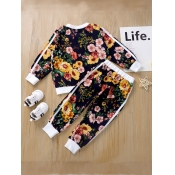 lovely Casual O Neck Floral Print Blue Girl Two-piece Pants Set