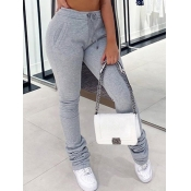 lovely Casual Fold Design Grey Plus Size Pants