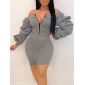 lovely Sportswear Dew Shoulder Fold Design Grey Mini Dress