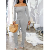 lovely Sexy Dew Shoulder Fold Design Grey One-piece Jumpsuit