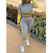 lovely Sportswear O Neck Patchwork Grey Two Piece Pants Set