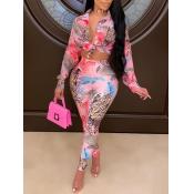 lovely Trendy Turndown Collar Print Pink Two Piece Pants Set(Batch Print)