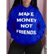 Lovely Casual Hooded Collar Letter Print Blue Plus Size Hoodie