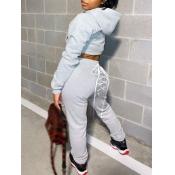 Lovely Sportswear Hooded Collar Bandage Design Grey Two Piece Pants Set
