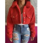 lovely Vintage Turndown Collar Buttons Design Red Short Coat