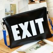 lovely Stylish Letter Print Black Crossbody Bag