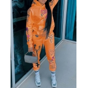 lovely Sportswear Hooded Collar Print Croci Two Piece Pants Set
