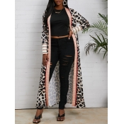 lovely Casual Leopard Print Long Cardigan
