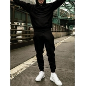 lovely Casual Hooded Collar Basic Black Men Two-piece Pants Set