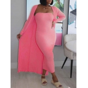 Lovely Casual Basic Pink Two Piece Skirt Set
