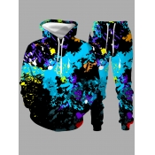 lovely Casual Hooded Collar Graffiti Print Multicolor Men Two-piece Pants Set