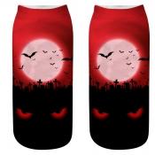 lovely Chic Print Red Socks(One Side Print)