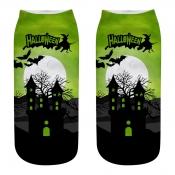 lovely Chic Print Green Socks(One Side Print)