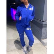 Lovely Casual Hooded Collar Embroidered Zipper Design Royalblue Two Piece Pants Set
