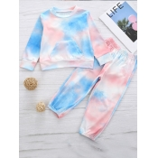 Lovely Stylish O Neck Gradient Print Girl Two-piec