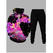 lovely Street Hooded Collar Print Multicolor Men Two-piece Pants Set