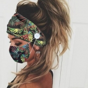 Lovely Plants Print Multicolor Face Mask(With Head