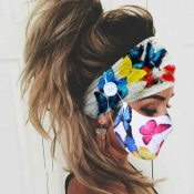 Lovely Butterfly Print Blue Face Mask(With Headban