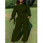 Lovely Casual Lace-up Loose Army Green Two Piece Pants Set