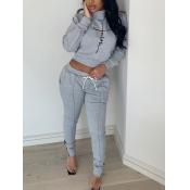 lovely Trendy Turtleneck Print Grey Two Piece Pants Set
