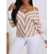 lovely Trendy V Neck Striped Apricot Sweater