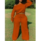 Lovely Casual Drawstring Loose Orange Plus Size Tw