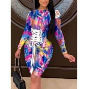 Lovely Trendy O Neck Print Bandage Design Blue Knee Length Dress(Batch Print)