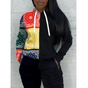 lovely Casual Hooded Collar Print Patchwork Black