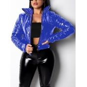 Lovely Stylish Turndown Collar Zipper Design Blue