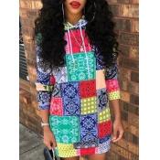 lovely Street Hooded Collar Print Multicolor Mini