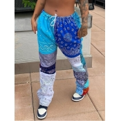 lovely Casual Print Blue Pants