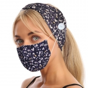lovely Floral Print Carbon Black Face Mask(With He