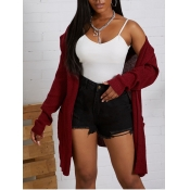lovely Casual Hooded Collar Loose Purplish Red Car