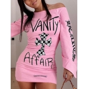 lovely Trendy Letter Print Pink Mini Dress