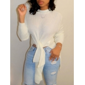 lovely Leisure O Neck Knot Design White Sweater