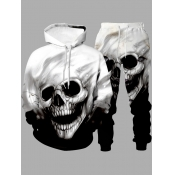 Lovely Street Hooded Collar Skull Print Black Men Two-piece Pants Set