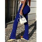 Lovely Street Fold Design Drawstring Royalblue Pants