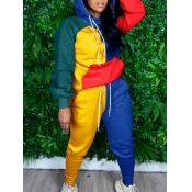 Lovely Chic Hooded Collar Color-lump Patchwork Multicolor Two Piece Pants Set