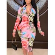Lovely Trendy Print Zipper Design Pink Knee Length